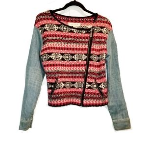 SAHAJA NATURE Asymmetrical zip up half jean jacket